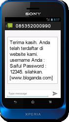 xperia sms diterima